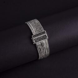 Top Zincir ve Zincirli Özel Tasarım Gümüş Bileklik - Thumbnail