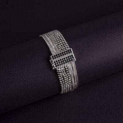 Top Zincir ve Zincirli Özel Tasarım Gümüş Bileklik