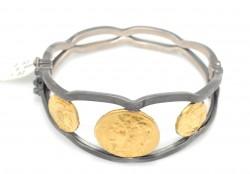 24 Ayar Altın ve Gümüş Üç Resimli Bilezik - Thumbnail